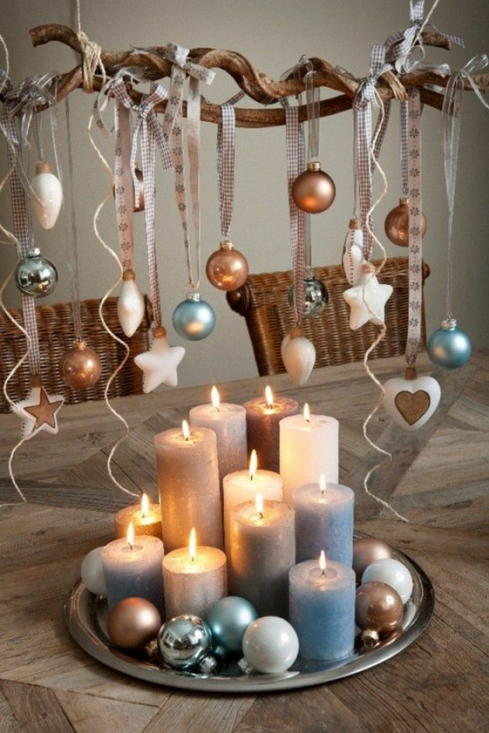 Christmas crafting candles ball decoration ideas table decoration