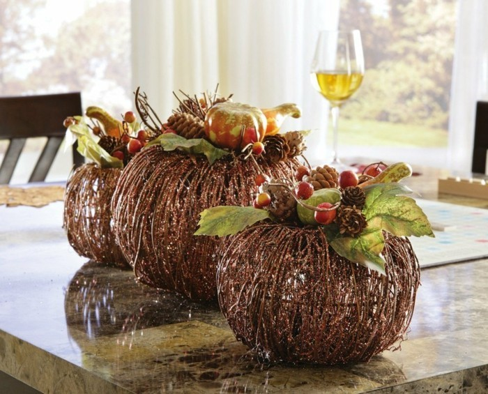 table decoration autumn simple decoration with fruits and foliage