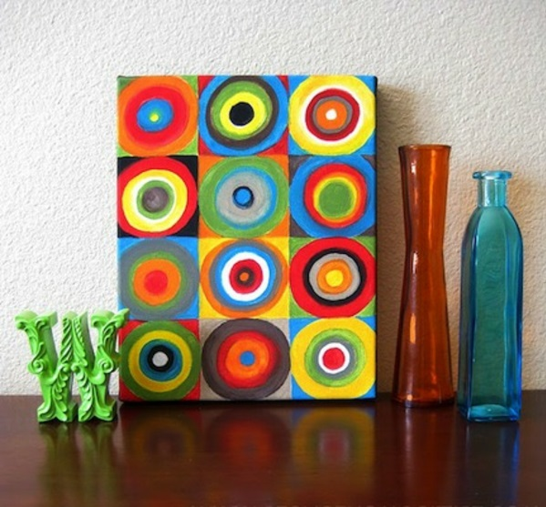 diy modern canvas pictures colorful circles