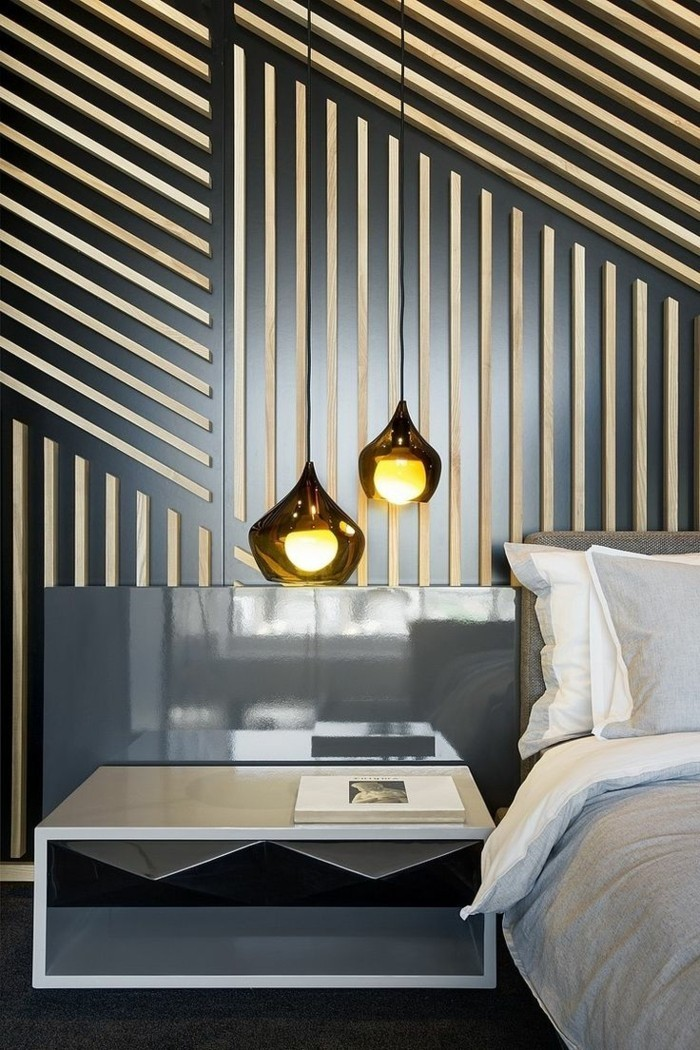 Wall decoration made of wood stripes