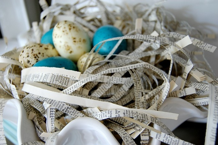 Flat decorate creative Easter deco ideas with book pages