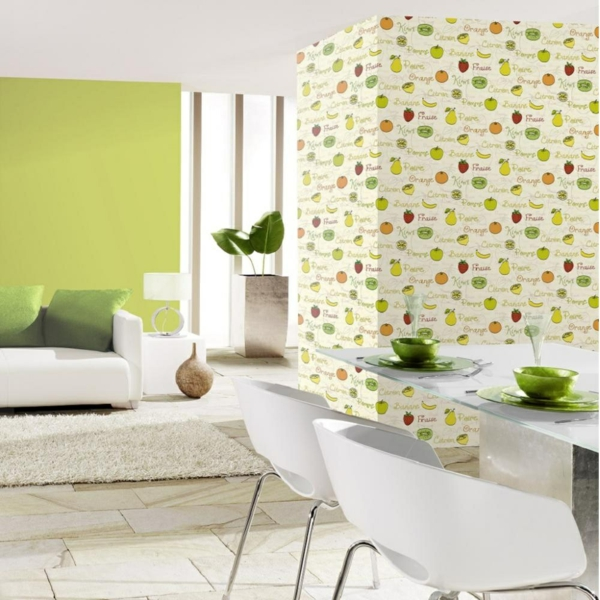 wallpaper pattern beautiful wall design kitchen fruits white dining room furniture