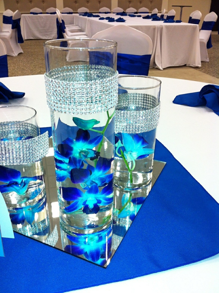 table decorations blue glass