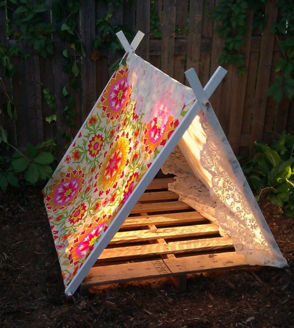 playful tents children floral red yellow
