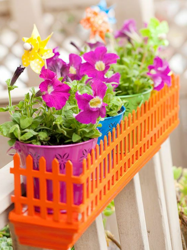 balcony flower box orange flower box colored flower pots