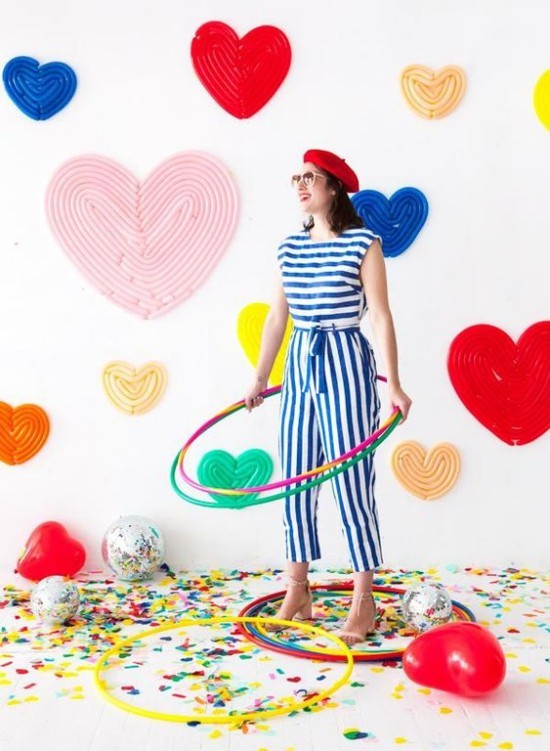 wall decoration ideas party colored hearts