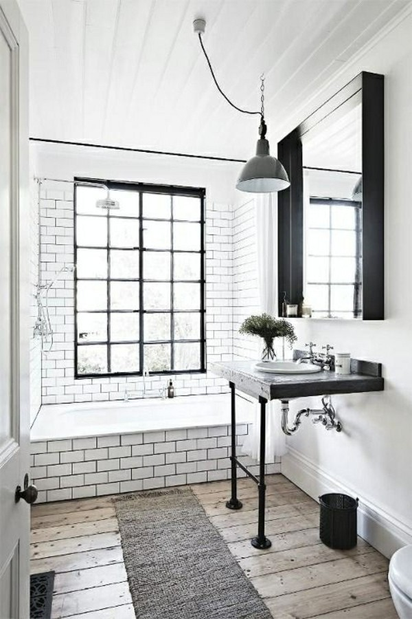 bathroom furnishing black and especially white