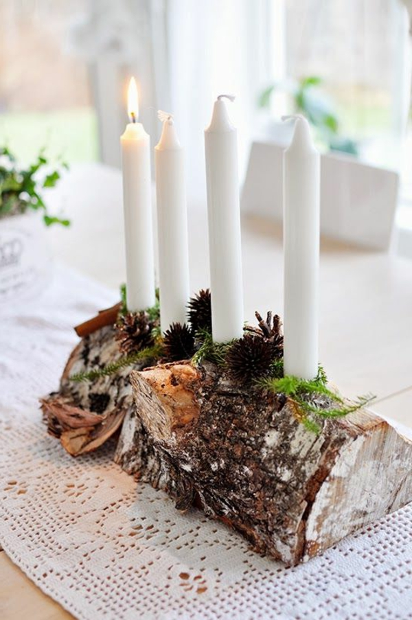 beautiful deco ideas white wood candles