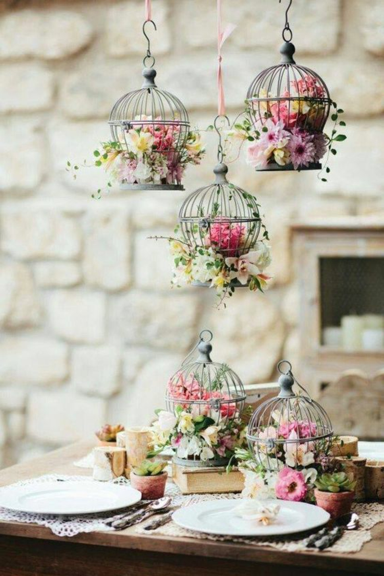 Table decoration garden party decoration make DIY deco flowers yourself
