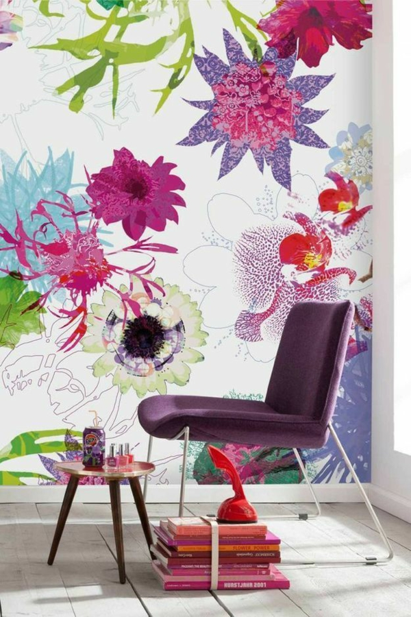 beautiful wall design wallpaper floral motifs