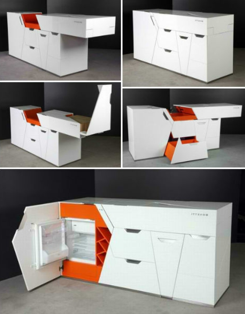 mobile modular mini kitchens white orange fridge