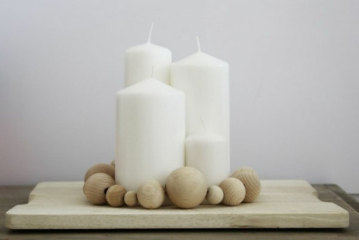wooden tray ball white candles advent calendar