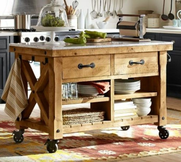Portable kitchen islands wood plate