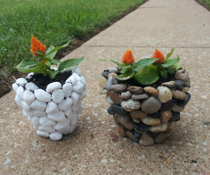 Flower pots made of stones