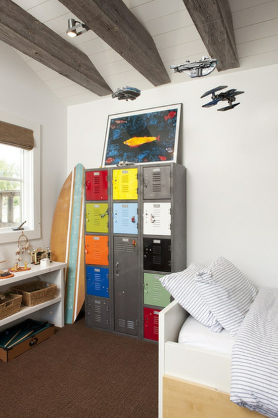 youth room for boys fashion wood surf rustic colorful