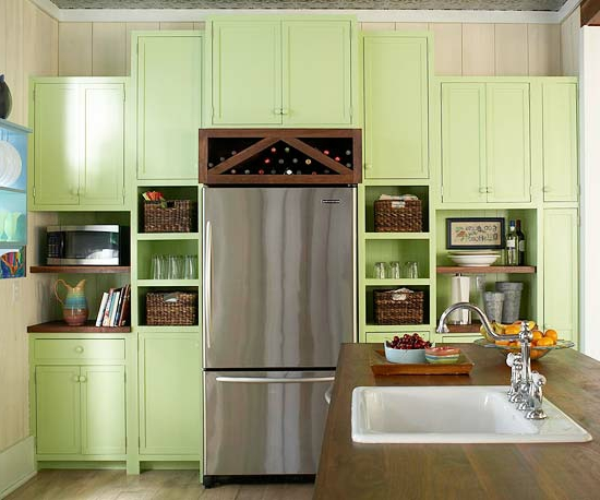 color ideas for kitchen green fresh wood cabinets light green wine rack
