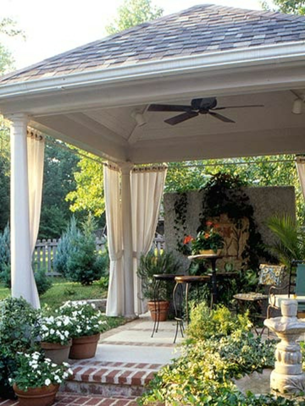Garden gazebo drapes ceiling fan