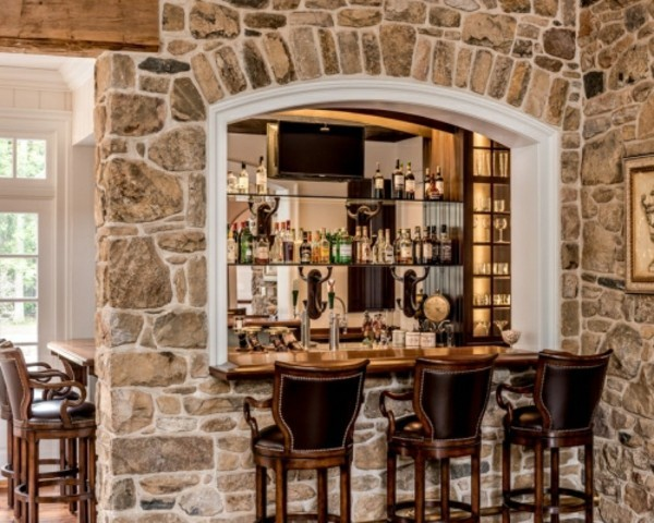 bar with wall-to-wall stone walls decoration ideas
