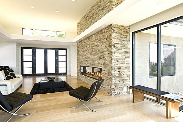 living stone wall black living room furniture black carpet