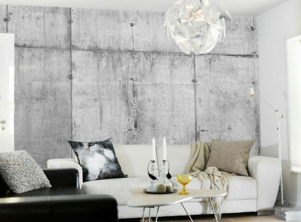 Wall paint with concrete look rough design