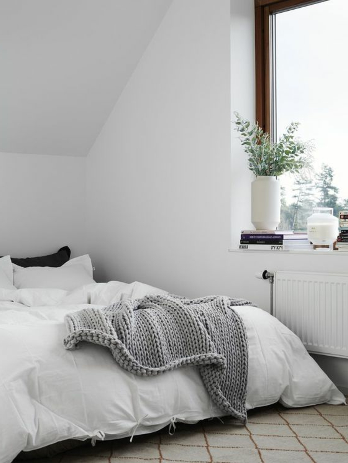 windowsill decoration bedroom plants white walls sloped carpet