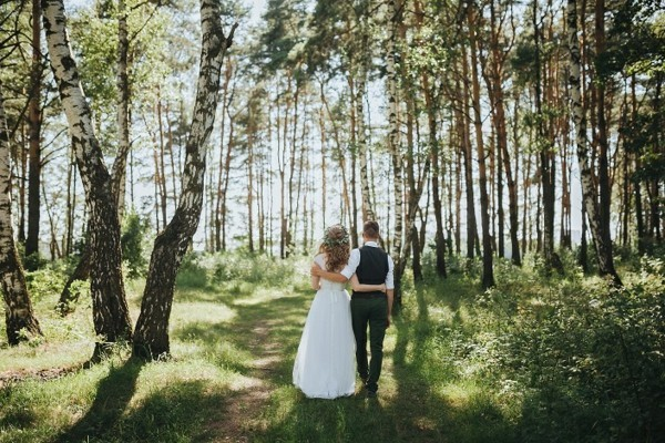 Couple in the forest. Wedding outside
