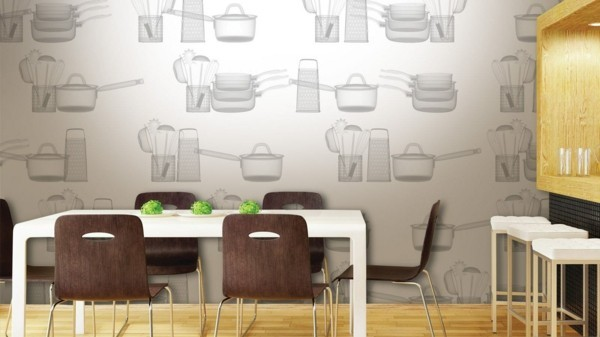 wallpaper ideas for the kitchen with kitchen appliances