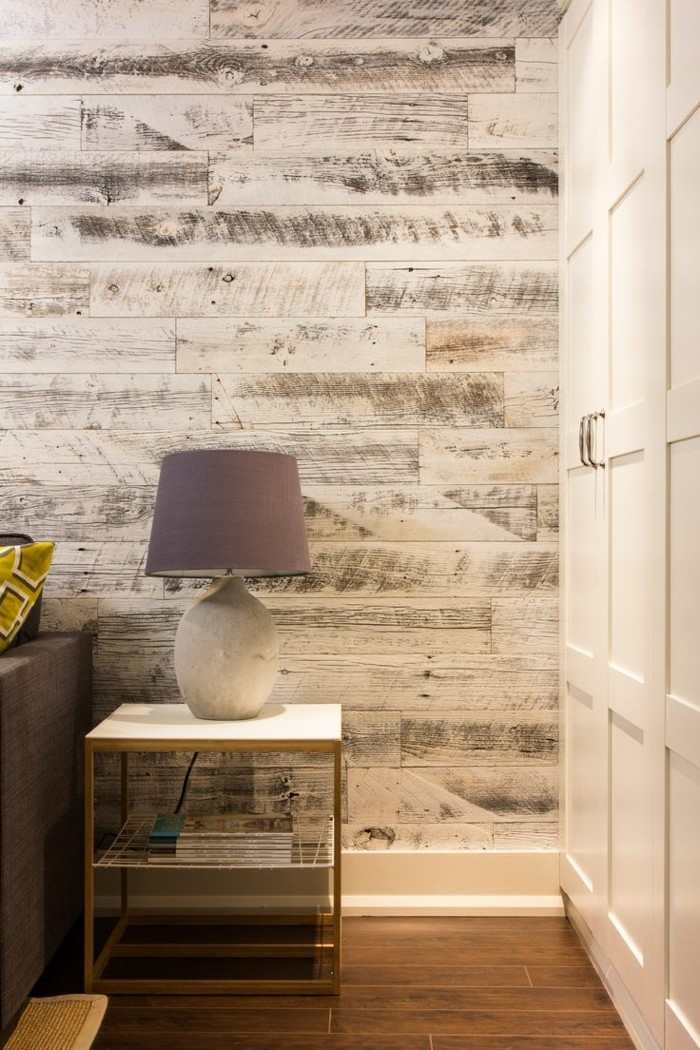 Wooden wall with clever lighting