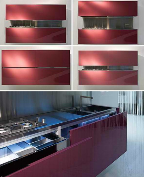 Mobile Modular Mini Kitchens Red Purple Sink Cooker