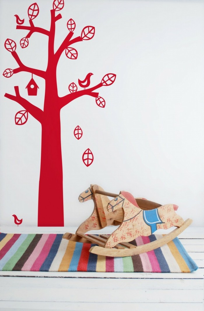 beautiful wall decals tree living ideas living room red accents colorful striped carpet