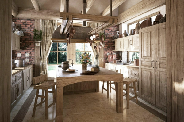 rustic kitchen wood cabinets wooden table