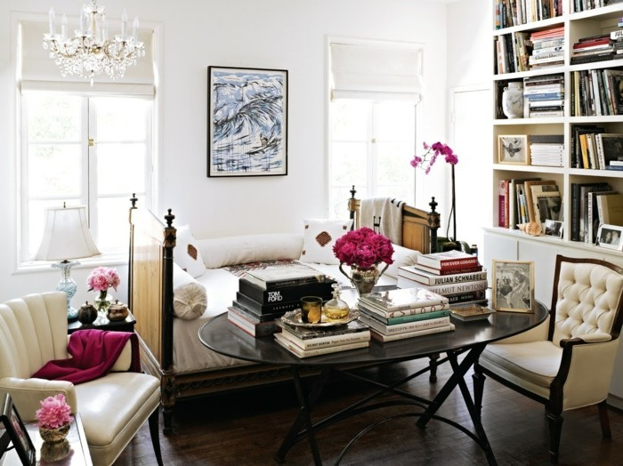 Flat decorating living room ideas with books