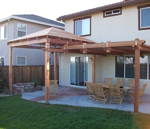 patio wooden roofing table chairs