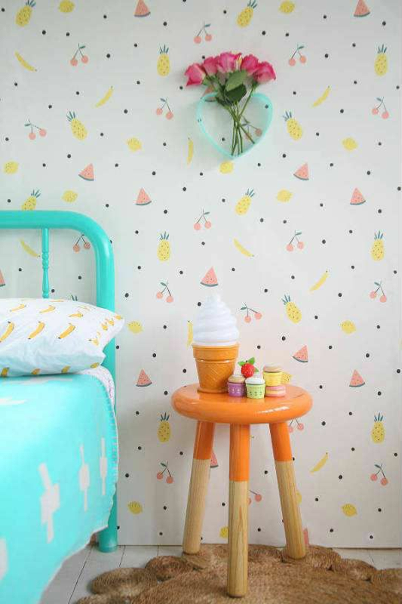 Wallpaper nursery pattern wallpaper summer fruits in pastel colors