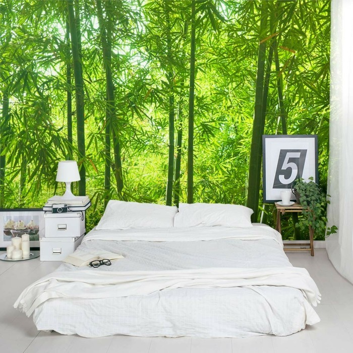 deco ideas bedroom wall deco ideas white bedding nature pattern