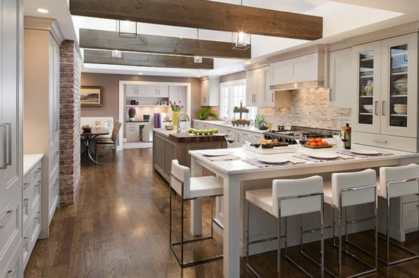 modern country house kitchens white chairs brick stones