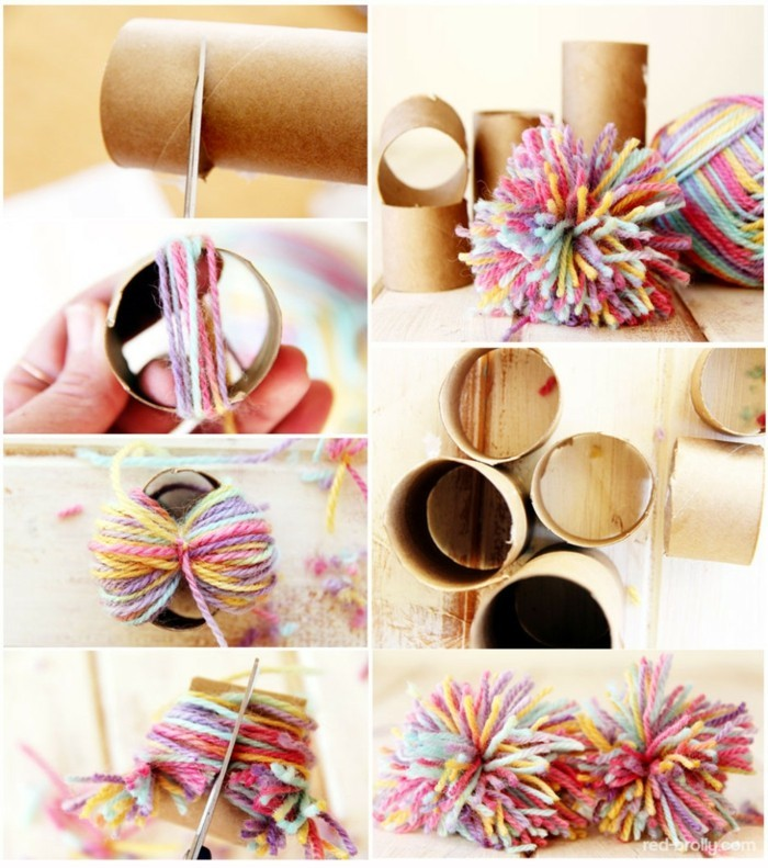 tinkering with paper towels diy ideas decorating ideas with kids pompoms