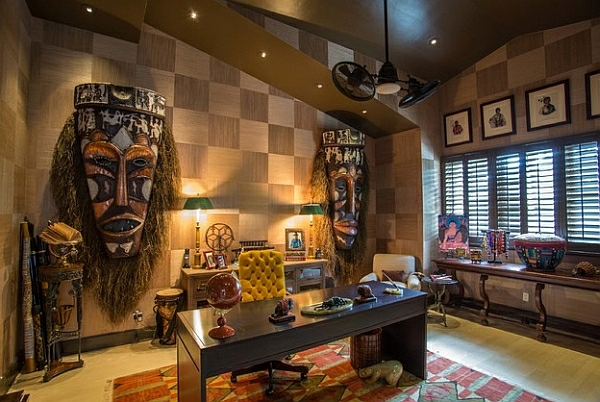 africa decor wall decoration with african masks study room