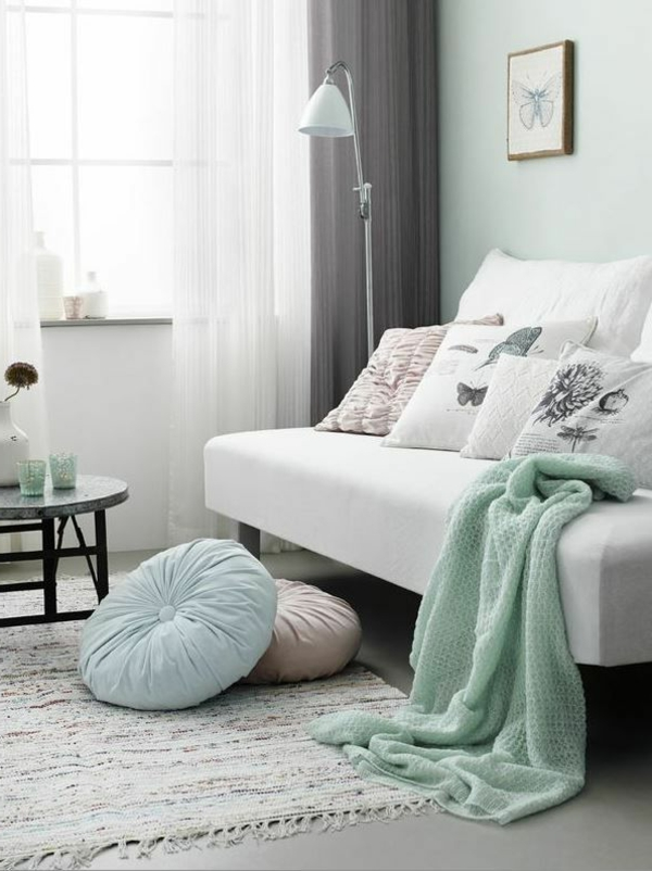 mint green in combination with white and gray