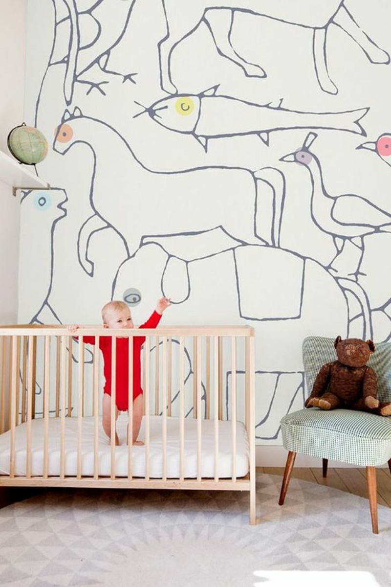 Patterned wallpaper animals outlines wallpaper baby room design