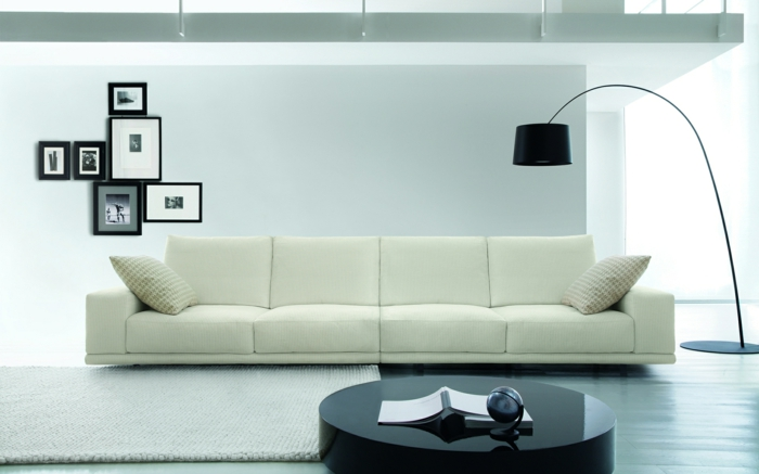 living room wall decorating white sofa black coffee table