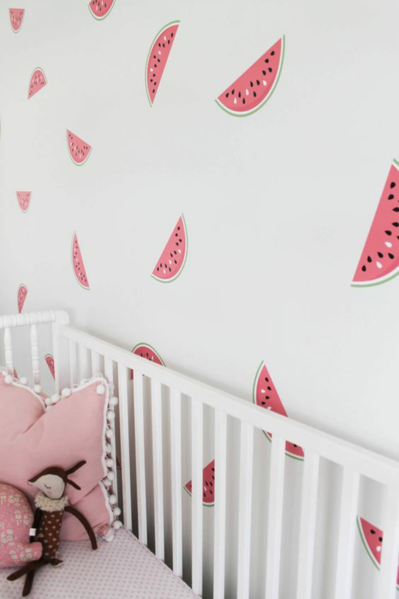 Wallpaper nursery watermelons pattern pink baby room