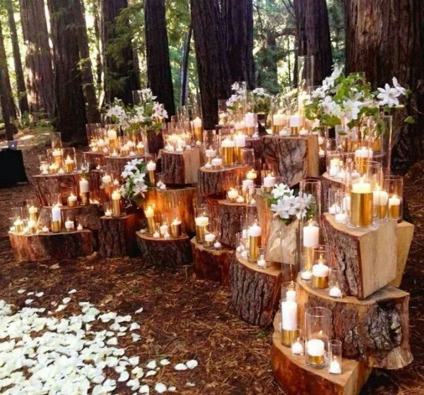 Candles in the forest. Wedding outside