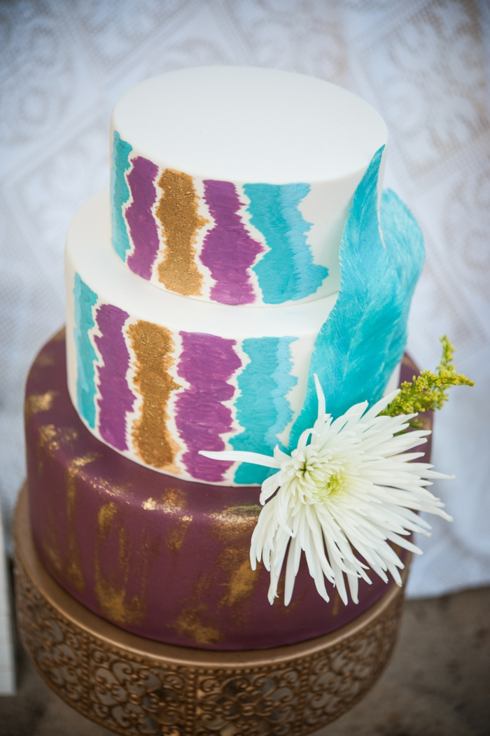 colorful cake place for bohemian wedding hippie style