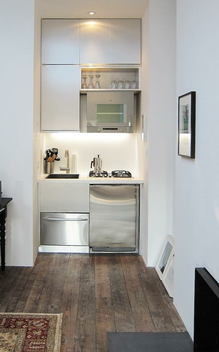 home interior kitchen small room wooden floor white walls