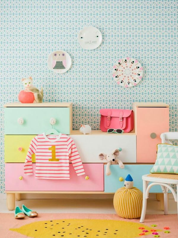 nursery wallpaper colored dresser wall decor