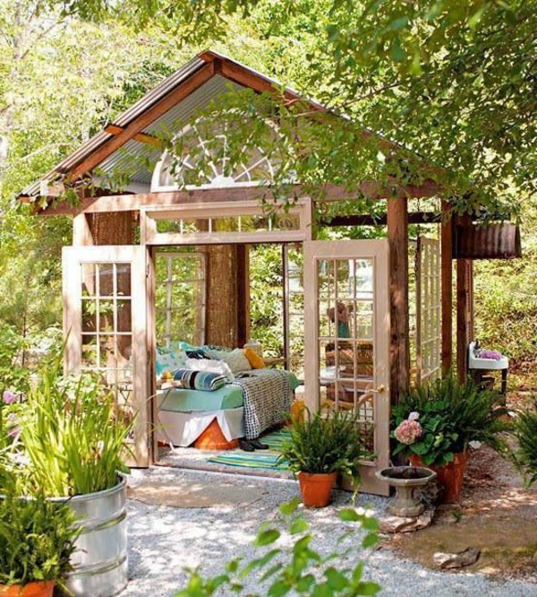 garden gazebo wood bed ferns