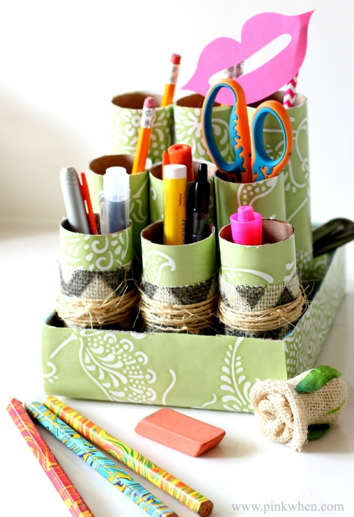 making autumn with children make autumn decoration yourself crafting with paper rolls pencil holder