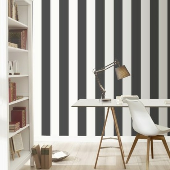 Lines black and white striped walls