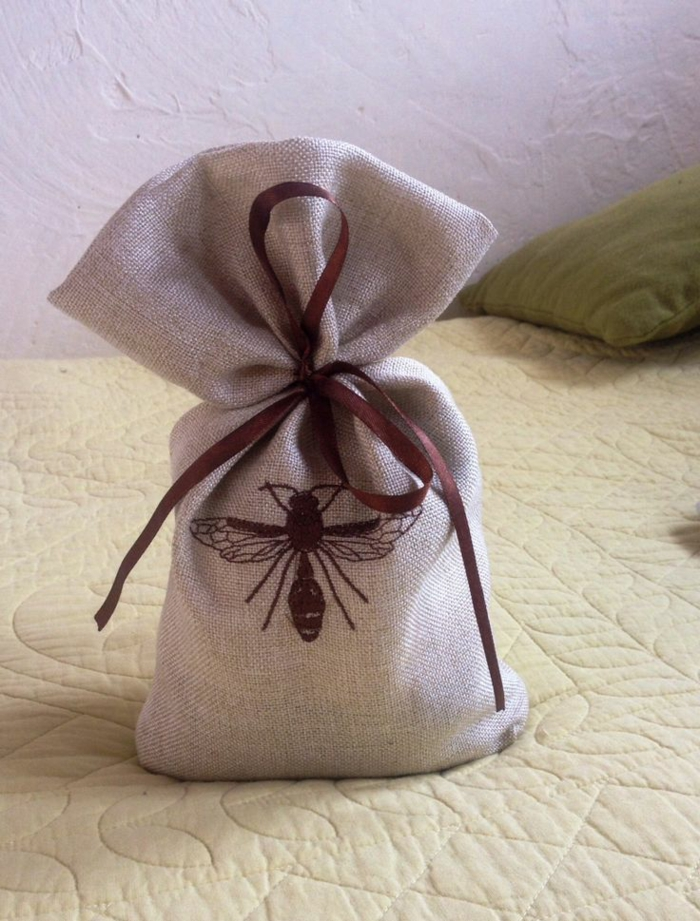 doorstop jute sack insect pattern embroidery work